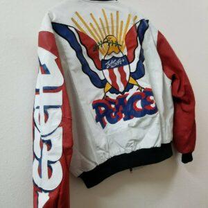 White Vintage Peace Graffiti USA Eagle Bomber Jacket