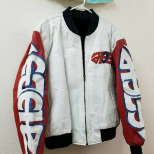 White Vintage Peace Graffiti USA Eagle Bomber Jacket