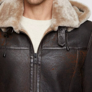 Merino Sheepskin B-3 Bomber Jacket with Detachable Hood Burnt Cognac