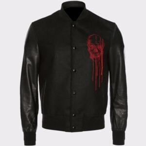 Black Skull Embroidered Varsity Jacket