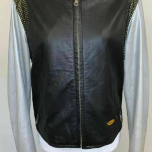 Harley Davidson Black With Silver Sleeves Leather Jacket