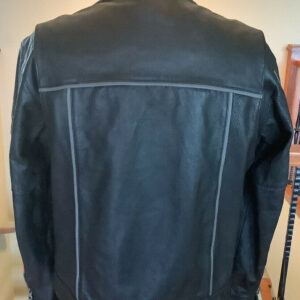 Harley Davidson Black and Orange Leather Jacket