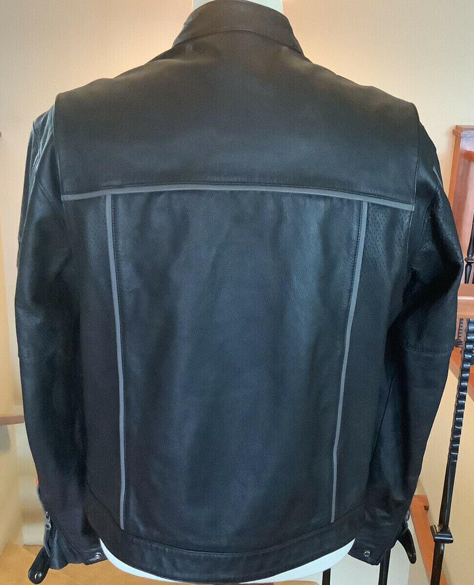 Harley Davidson Black and Orange Leather Jacket