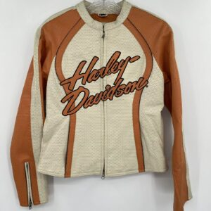 Harley Davidson Cream Orange Leather Riding Jacket