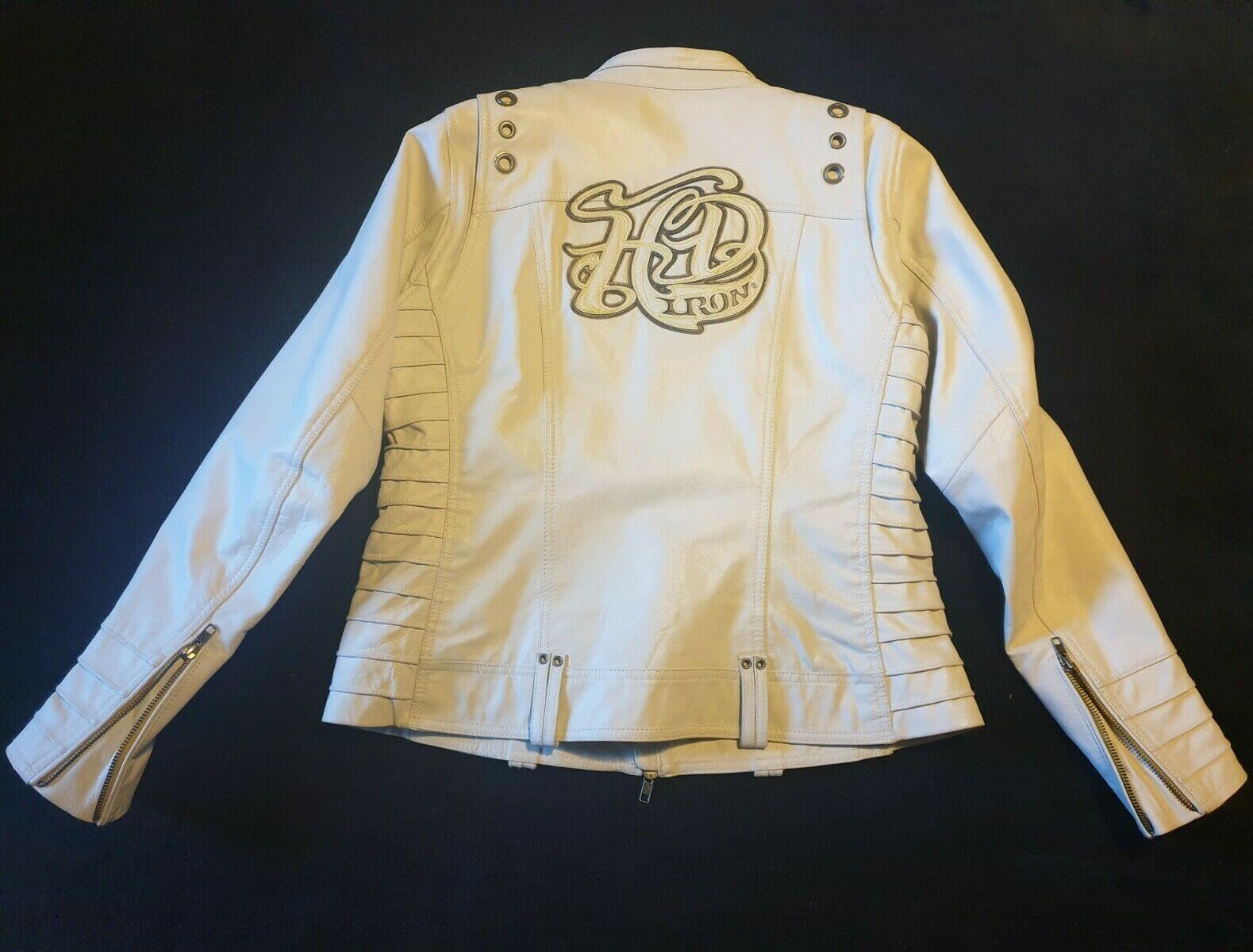 Harley Davidson Iron White Motorcycle Leather Jacket