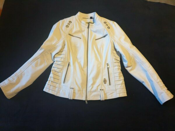 Harley Davidson Iron White Motorcycle Leather Jacket