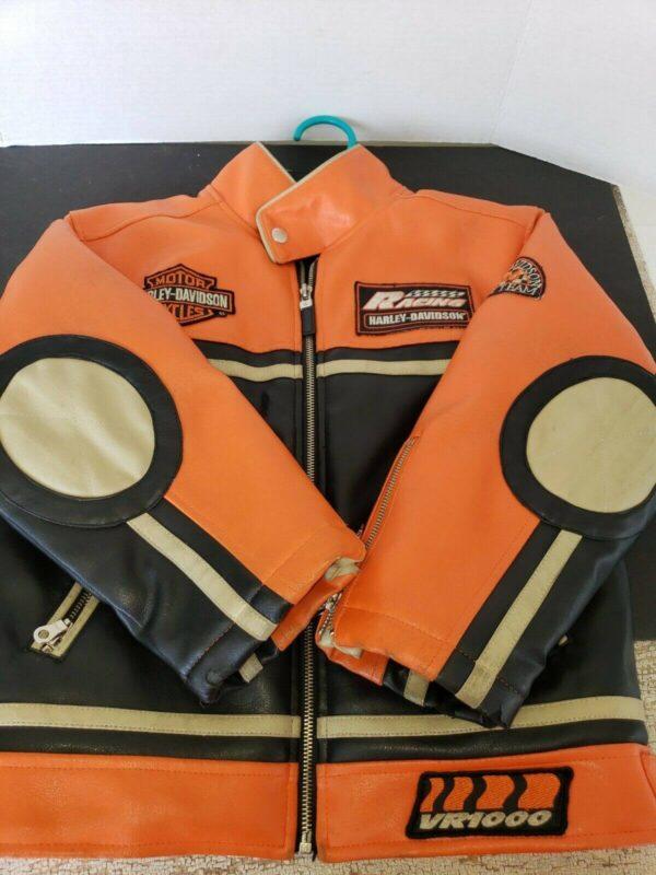 Harley Davidson No.1 Black Orange Race Leather Jacket
