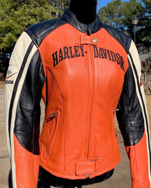 Harley Davidson Racing Black Orange Leather Jacket