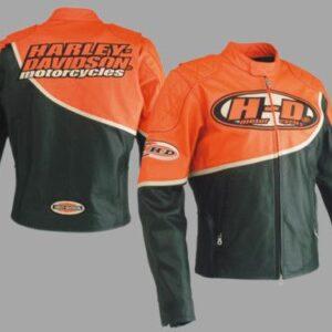 Harley Davidson Speed Black Orange Racing Leather Jacket