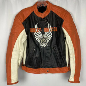 Harley Davidson Star Orange Black Racing Leather Jacket