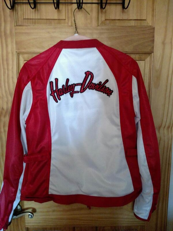 Harley Davidson White and Red Mesh Riding Jacket