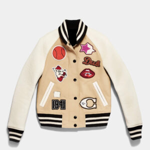 Khaki and Cream Cotton Varsity Jacket
