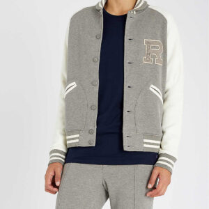 Ralph Lauren Grey Varsity Patch Letterman Jacket