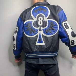 Vintage Blue Ace of Spade Michael Hoban Leather Jacket