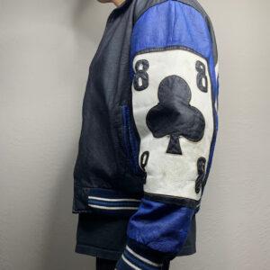 Vintage Blue Ace of Spade Michael Hoban Leather Jacket