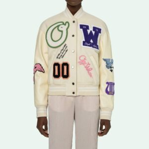 Beige Multi Patches Varsity Jacket