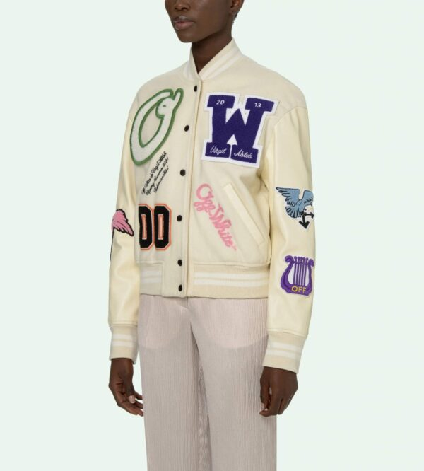 Beige Multi Patches Varsity Jacket