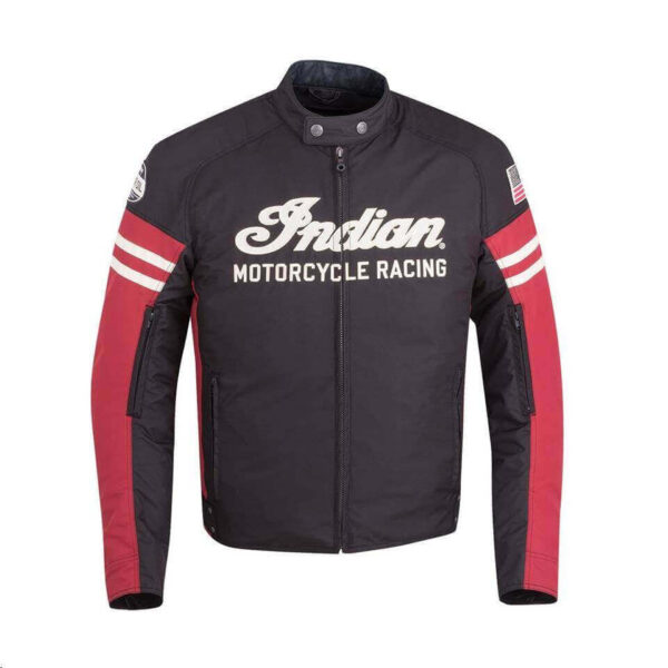 Black And Red Indian Motorcycle Racing Textile Jacket (1)