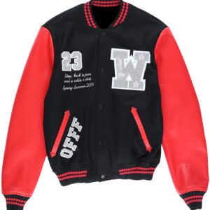 Black Eagle Logo Red Leather Varsity Bomber Jacket
