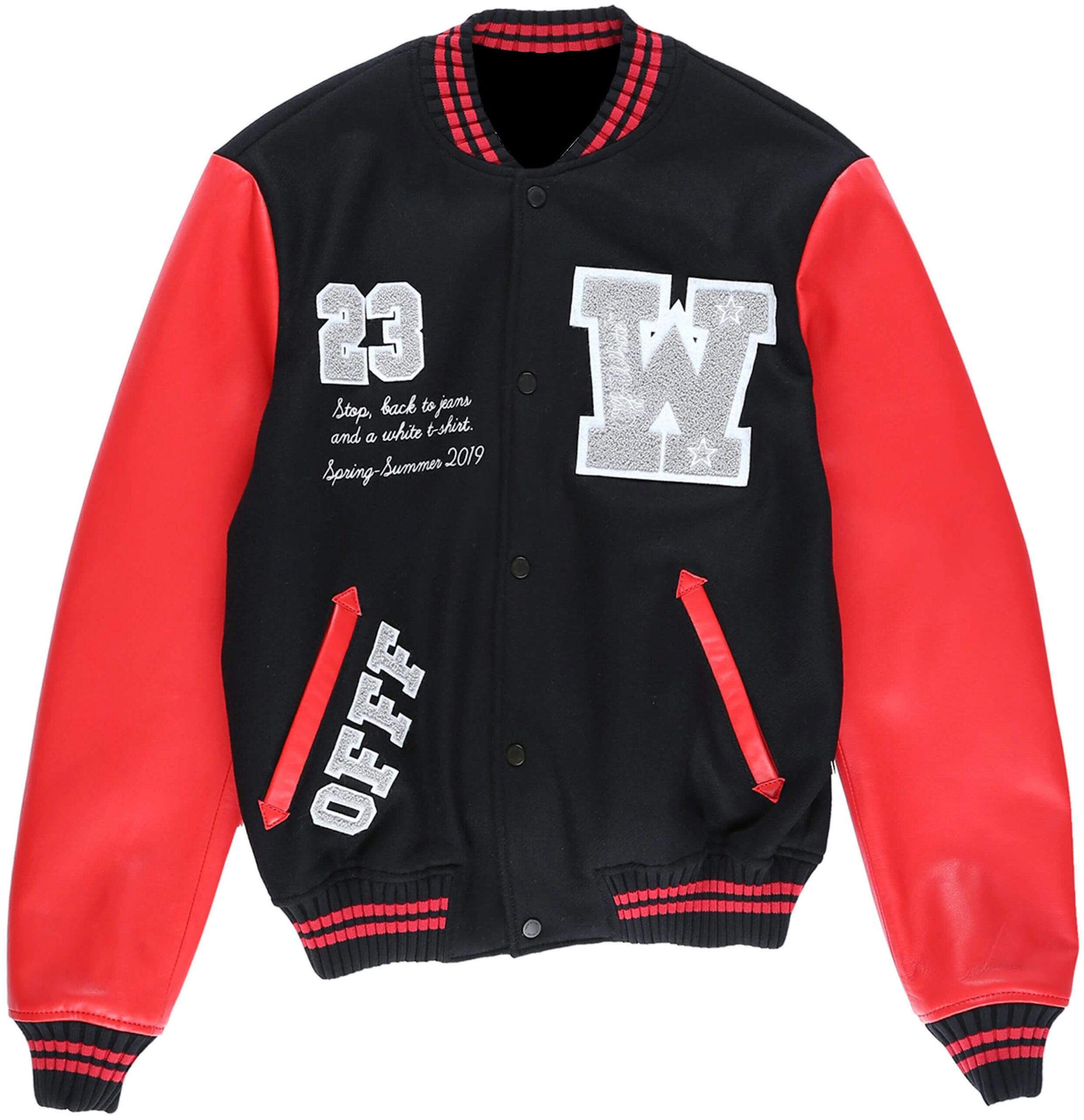 Black Eagle Logo Red Leather Varsity Bomber Jacket