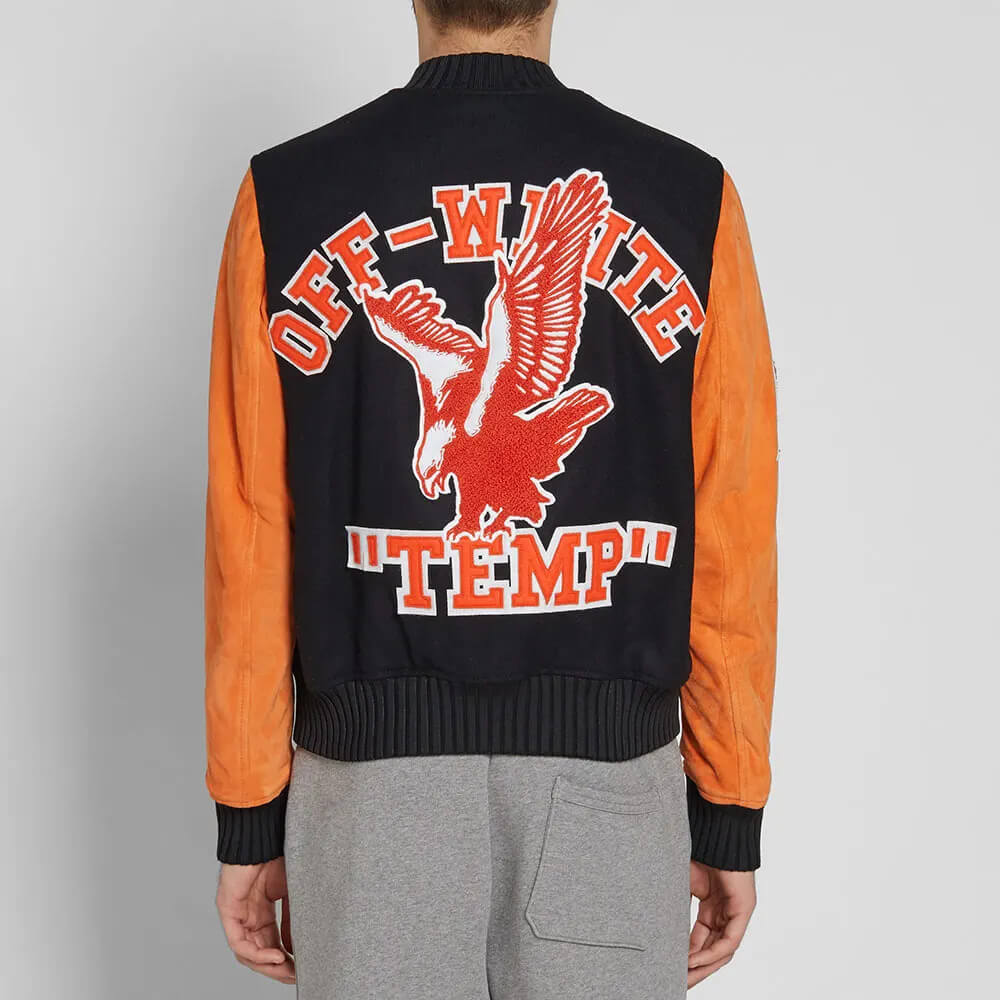 Black Eagle Temp Orange Leather Sleeve Varsity Jacket