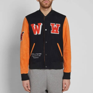 Black Eagle Temp Orange Leather Sleeve Varsity Jacket