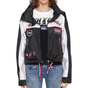 Black Gigi Hadid Speed Windbreaker Jacket