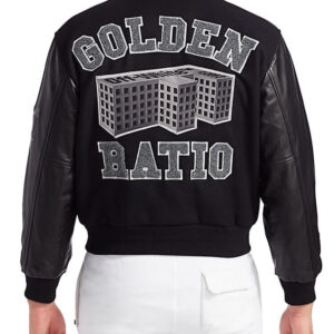 Black Golden Ratio Varsity Baseball Jacket