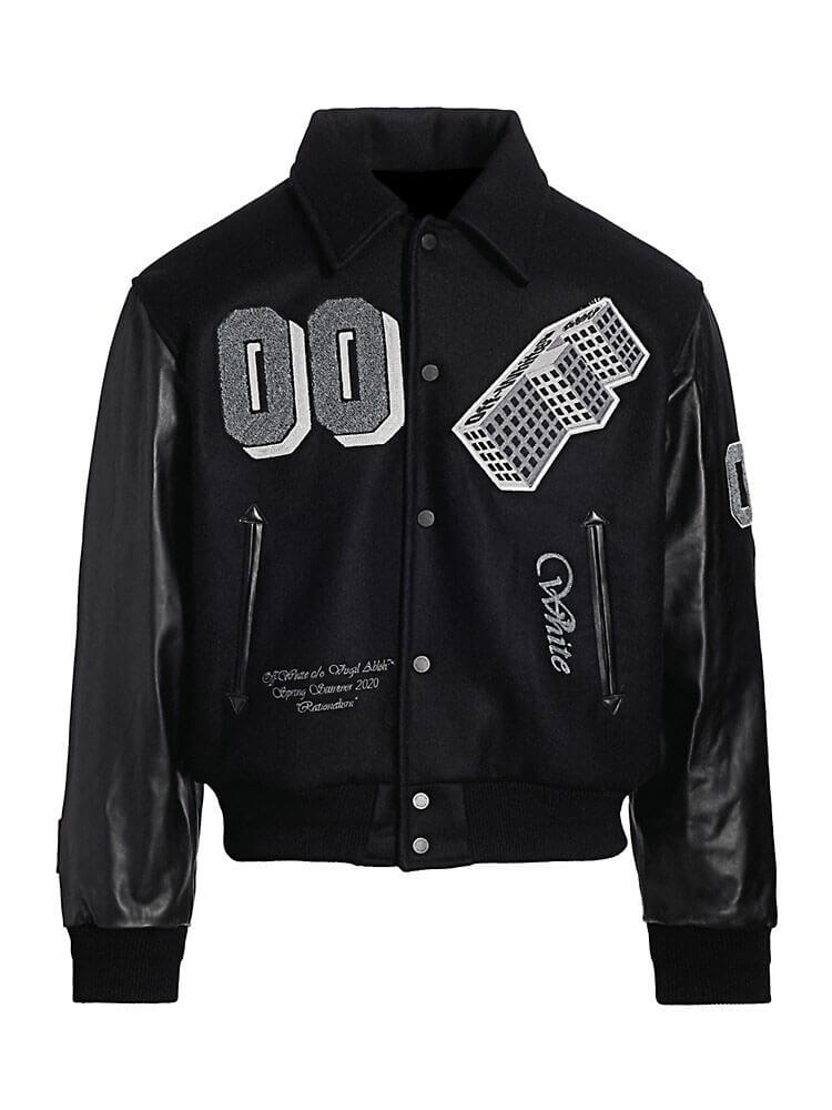 Black Golden Ratio Varsity Baseball Jacket