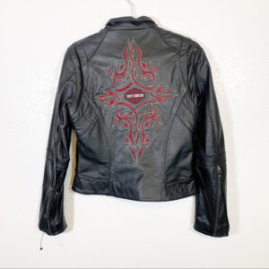 Black Harley Davidson Red Embroidered Leather Jacket