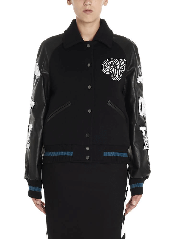 Black Logo Patch Sleeved Leather And Wool Blend Jacket