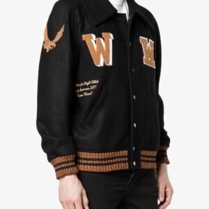 Black Patch Detail Varsity Letterman Jacket