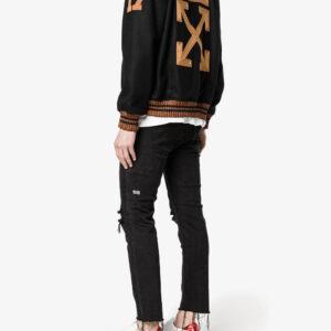 Black Patch Detail Varsity Letterman Jacket