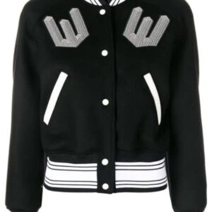 Black White Wool Blend Varsity Jacket