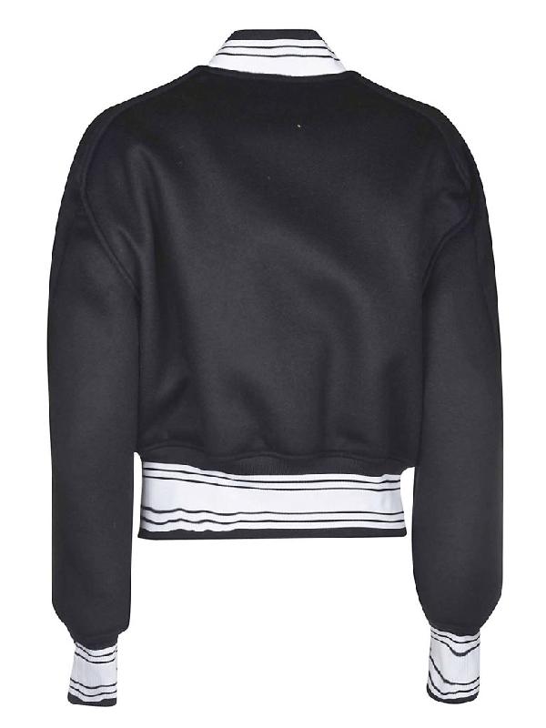 Black White Wool Blend Varsity Jacket