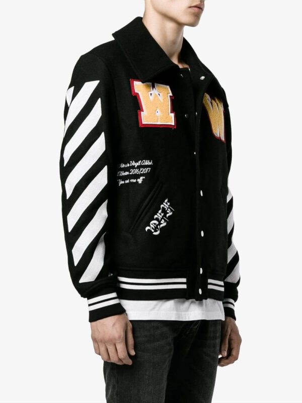 Black Wool White Logo Striped Sleeves Varsity Jacket