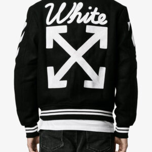 Black Wool White Logo Striped Sleeves Varsity Jacket