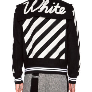 Black Wool White Striped Sleeves Varsity Bomber Jacket