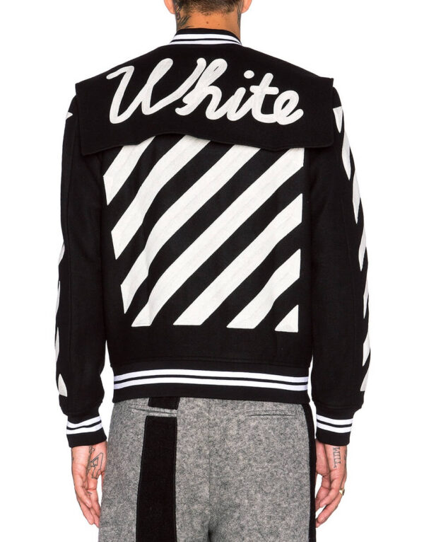 Black Wool White Striped Sleeves Varsity Bomber Jacket
