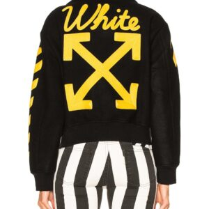 Black Wool Yellow Logo Striped Sleeves Varsity Jacket