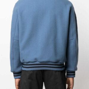 Blue Wool Black Striped Sleeves Varsity Bomber Jacket