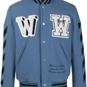 Blue Wool Black Striped Sleeves Varsity Bomber Jacket