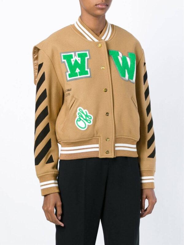 Brown Wool Black Striped Sleeves Varsity Bomber Jacket