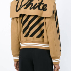 Brown Wool Black Striped Sleeves Varsity Bomber Jacket