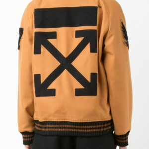 Brown Wool Patched Logo Varsity Jacket