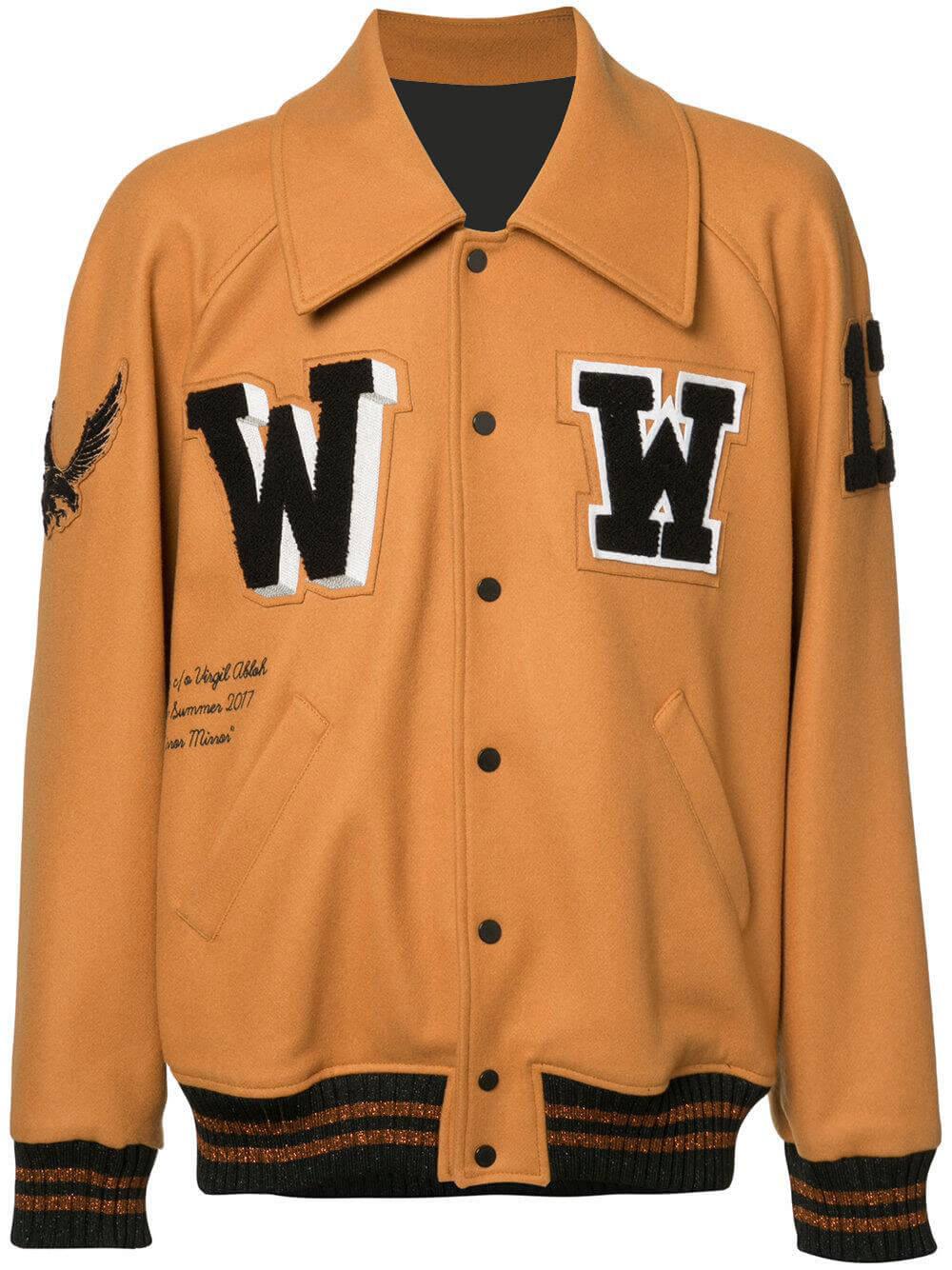 Brown Wool Patched Logo Varsity Jacket