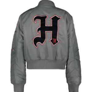 Gigi Hadid Tommy Hilfiger Grey Embroidered Satin Jacket