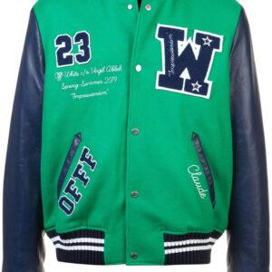 Green Eagle Logo Impressionism Varsity Bomber Jacket