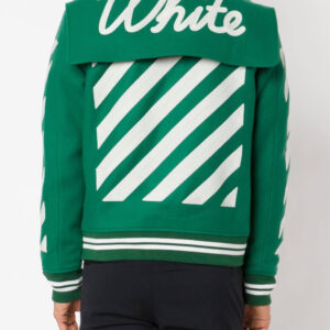 Green Wool White Striped Sleeves Varsity Bomber Jacket