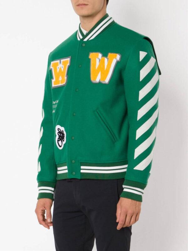 Green Wool White Striped Sleeves Varsity Bomber Jacket